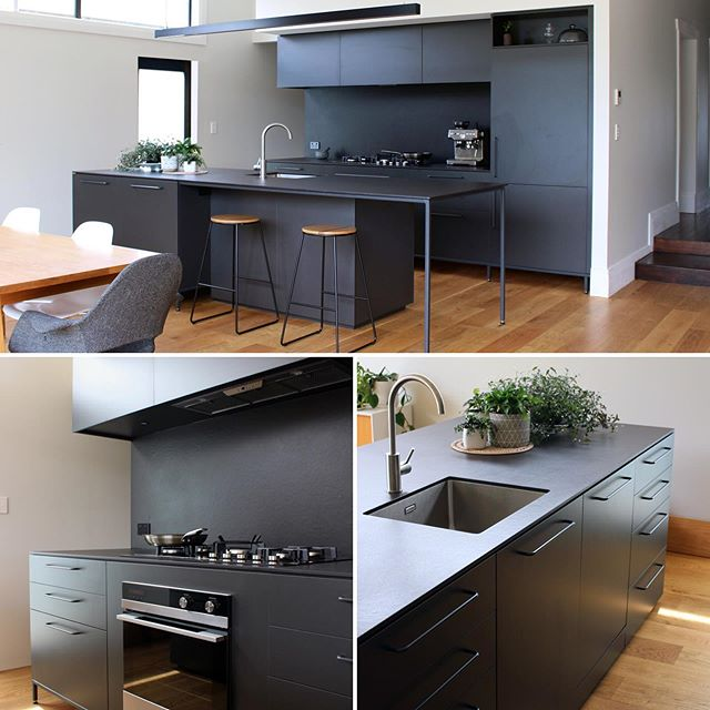 All-black kitchen can be absolutely stunning! With plenty of light it looks stylish and functional #fluid_interiorsnz