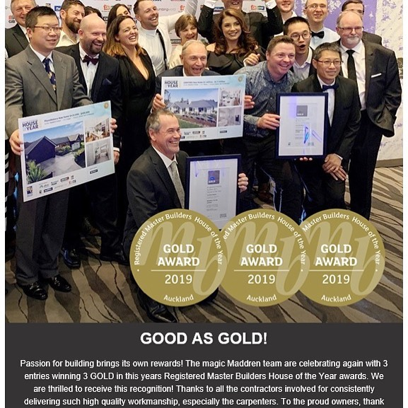 Congratulations to #maddrenhomes 3 Gold Awards !!! #houseoftheyearnz #fluid_interiorsnz
