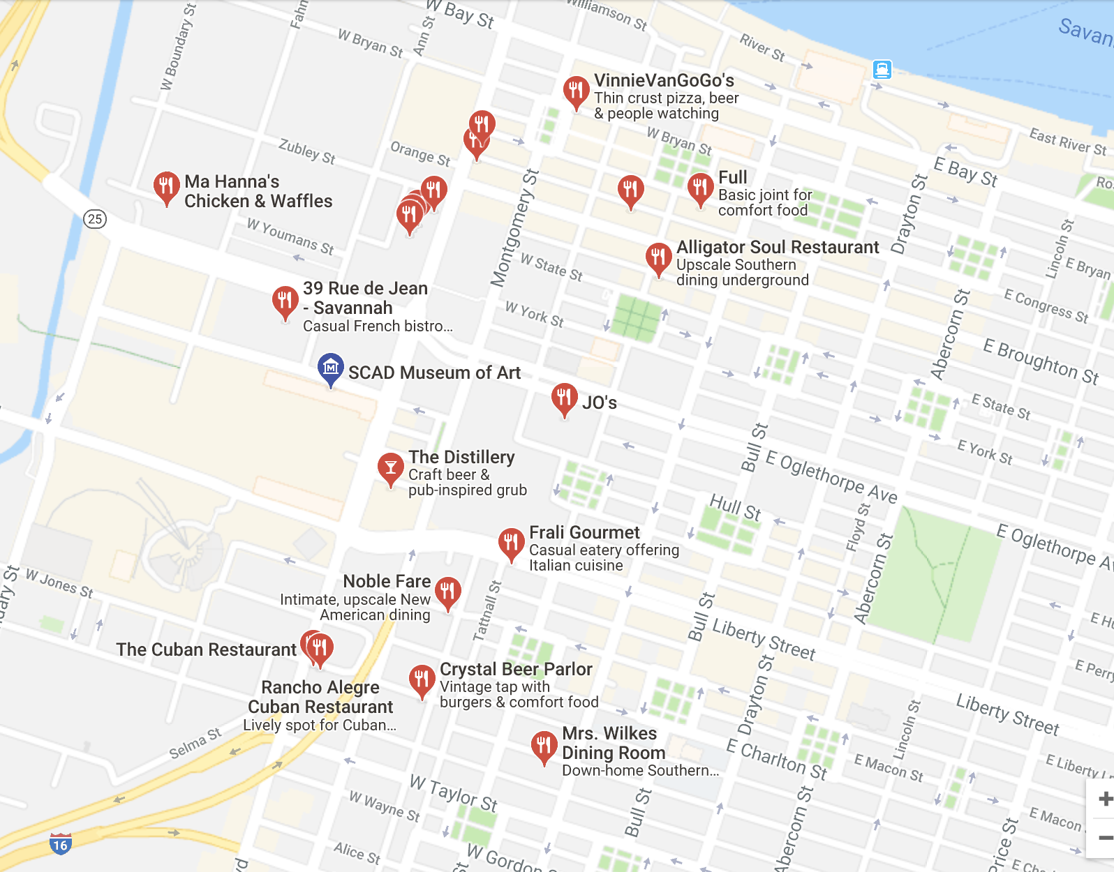 Screenshot of some of the restaurants for reference