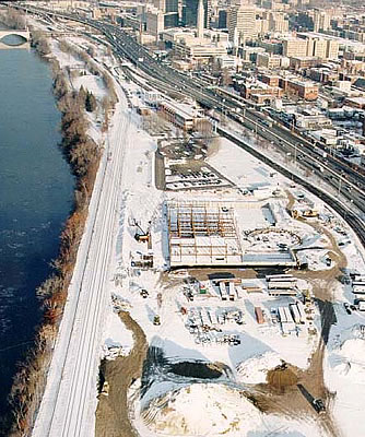 You can see the basic outlines of the future building even through the coating of snow. The Connecticut River runs along the western edge of the location while Route I91 and the city of Springfield are on the eastern side.