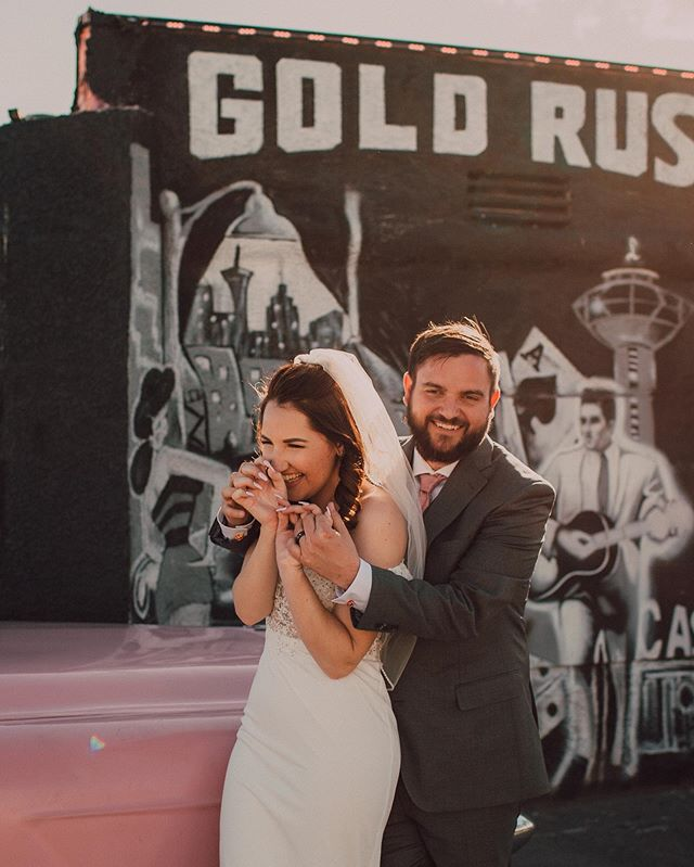 the cutest (coolest) most giddiest bride and groom on their day!! just walking around vegas smoochin' eachother ✨🥰 ps who is watching the bachelorette tonight?!?! #teampeter