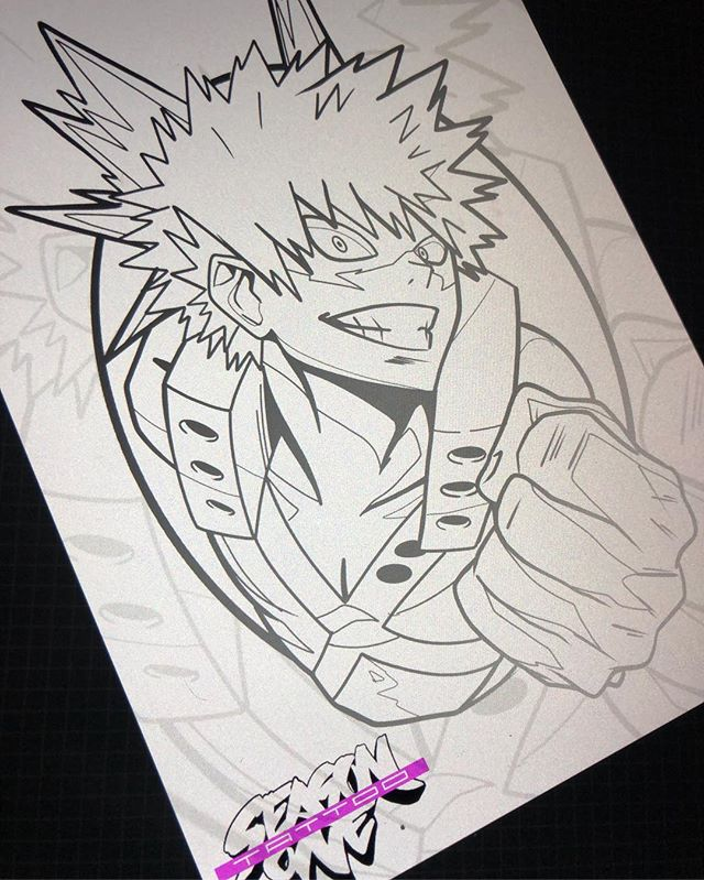Bakugo! Definitely one of my favourite MHA characters! This design is available or send me your favourite character and let's get it booked!🔥 tattoo@stickypop.co.uk for bookings and appointments, thanks! 🌟