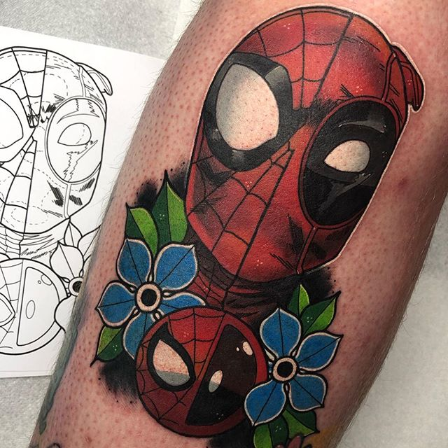 Spider-Man VS Deadpool for @charlieedington today! Thank you as always bro! ✨ - @butterluxe_uk @ghostcartridges @starrtattoosupplies @fkirons @worldfamousink ❤️