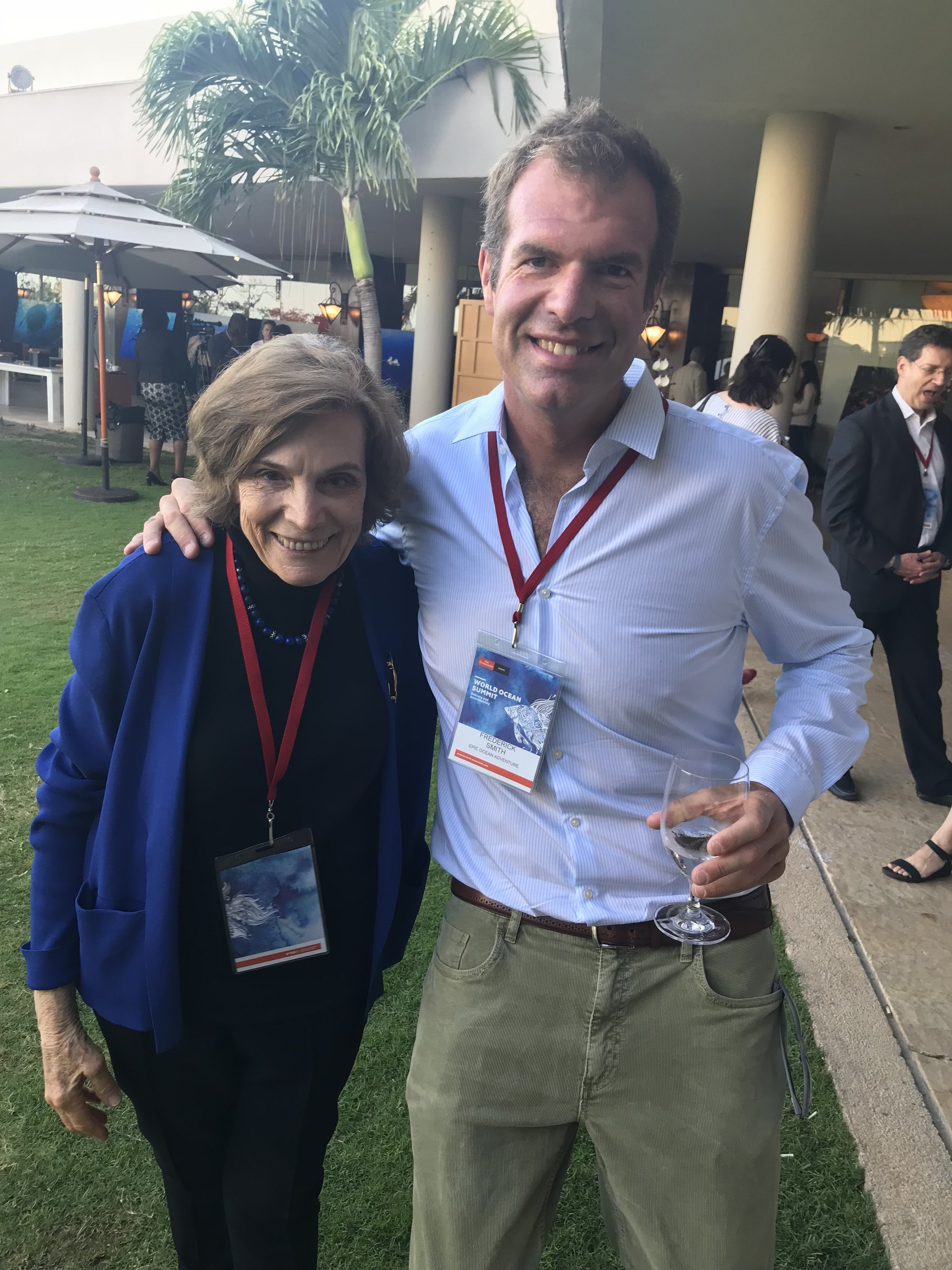My idol, Dr. Sylvia Earle, President and Chairman of  Mission Blue , and myself at the Economist World Ocean Summit in March.