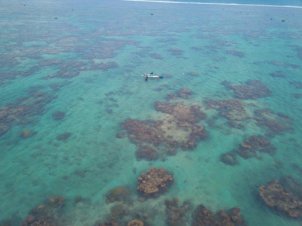 Aerial view of Reef Explorer Fiji at work.