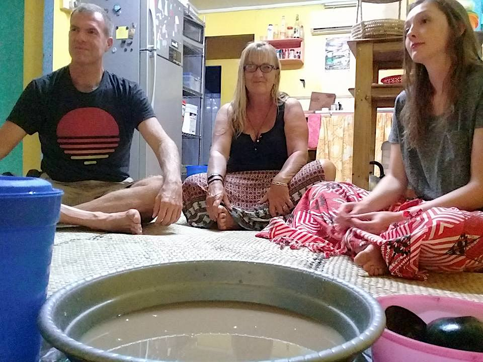 Frederick, Alice and Kaitlyn attending a local Fijian Kava ceremony
