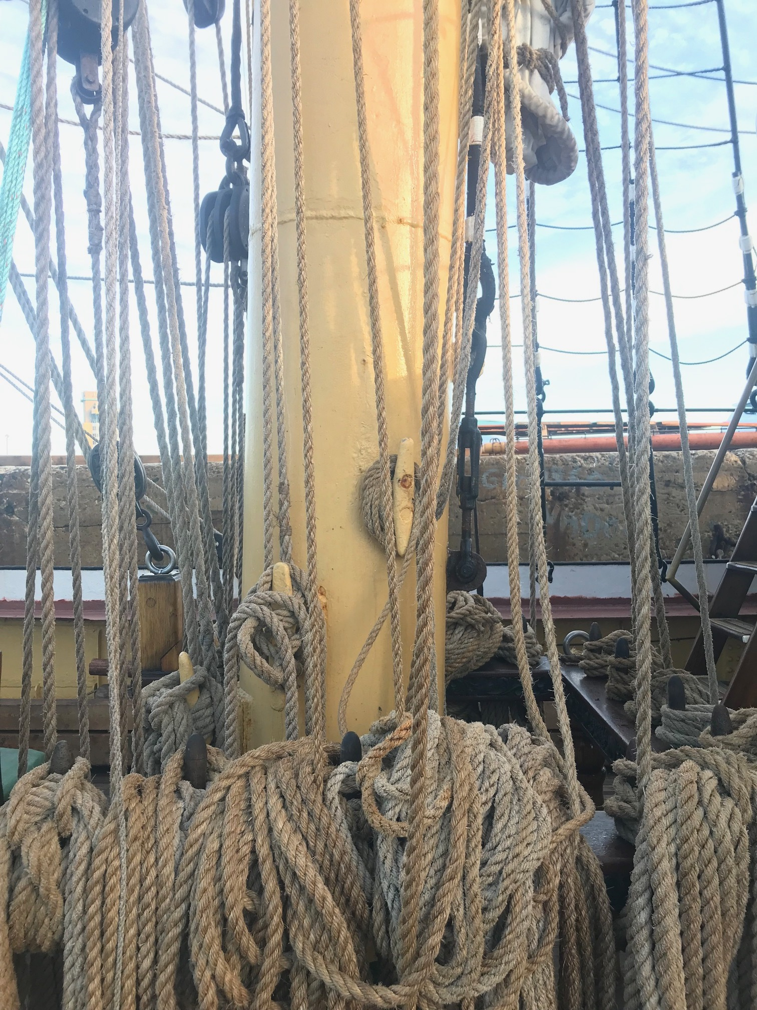 Lots of ropes and lines on a tall ship