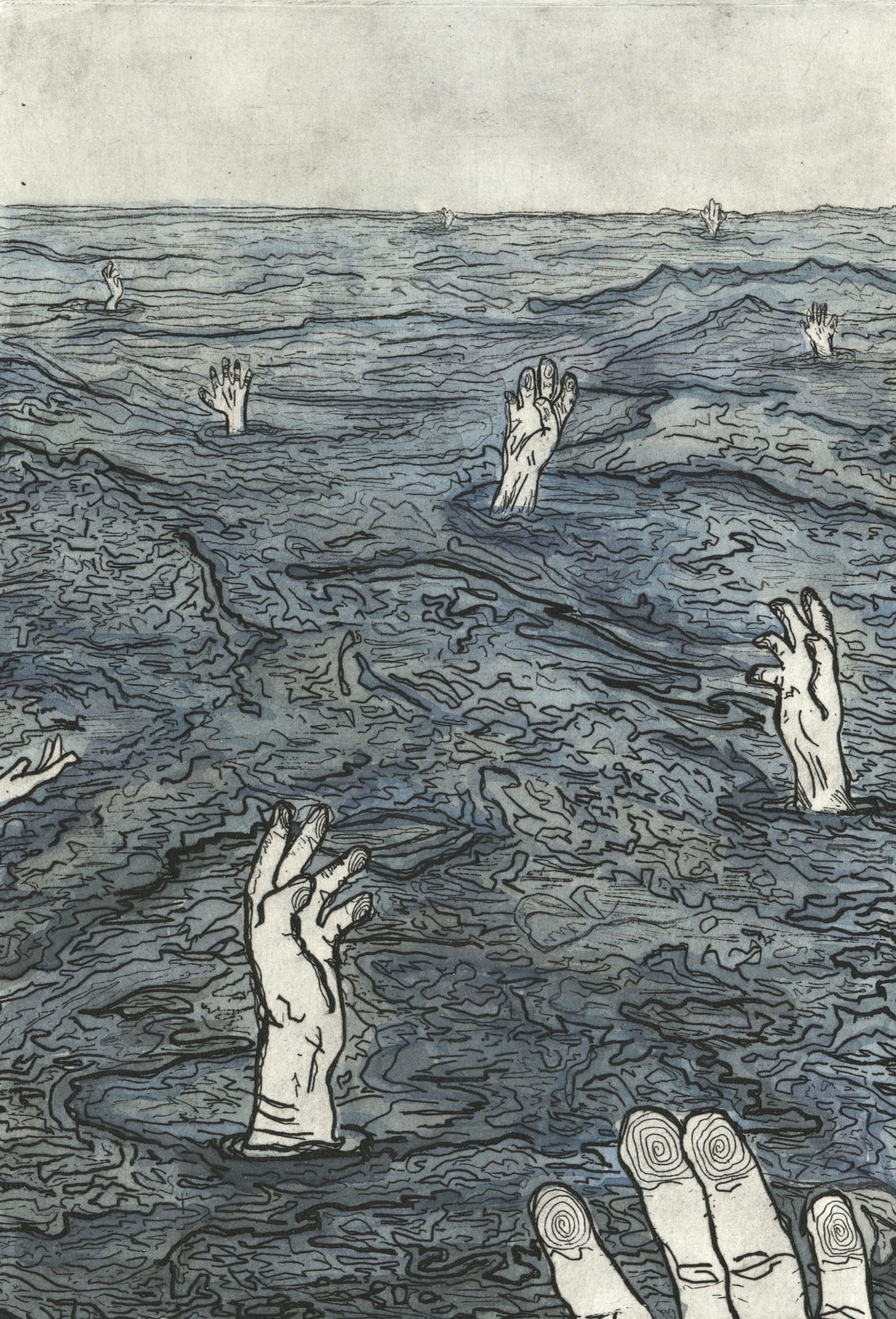 """Cold Water Swimming Helps Depression,  2017. 7 x 5 in. Etched zinc plate prints, using five different inking methods.  As my first prints ever, I was moved to create this series after seeing a click-bait article titled """"10 Ways to Help Cope with Depression,"""" where one of the coping mechanisms reduced to a superficial bullet point was cold water swimming."""