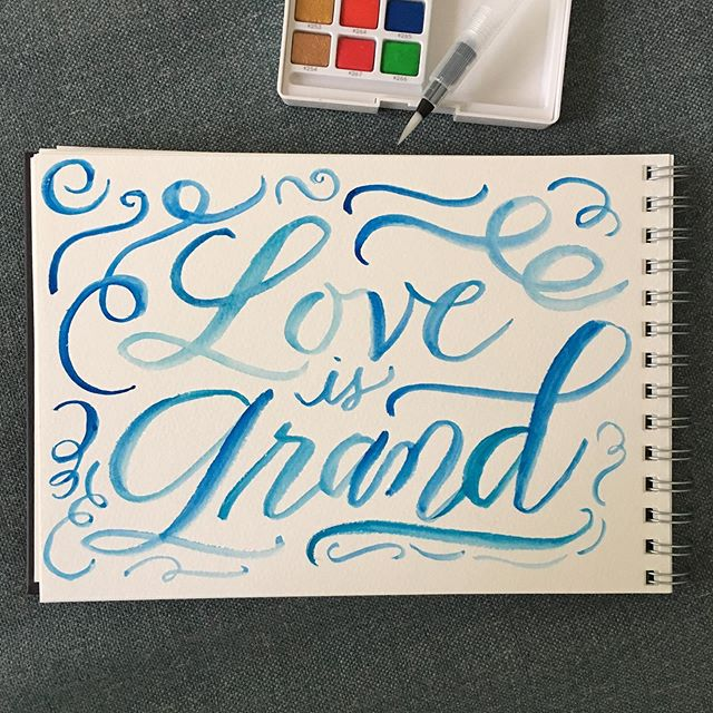 Celebrating 11 very happy years of marriage with a little getaway to a cabin in the woods. Playing around with my Koi watercolor palette, too! #happywife #ilovelove #brushlettering