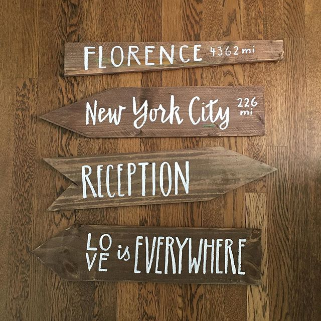 Safe travels, whatever your destination this holiday weekend! (Hand painted signs for a nearlywed @greenwed couple!)