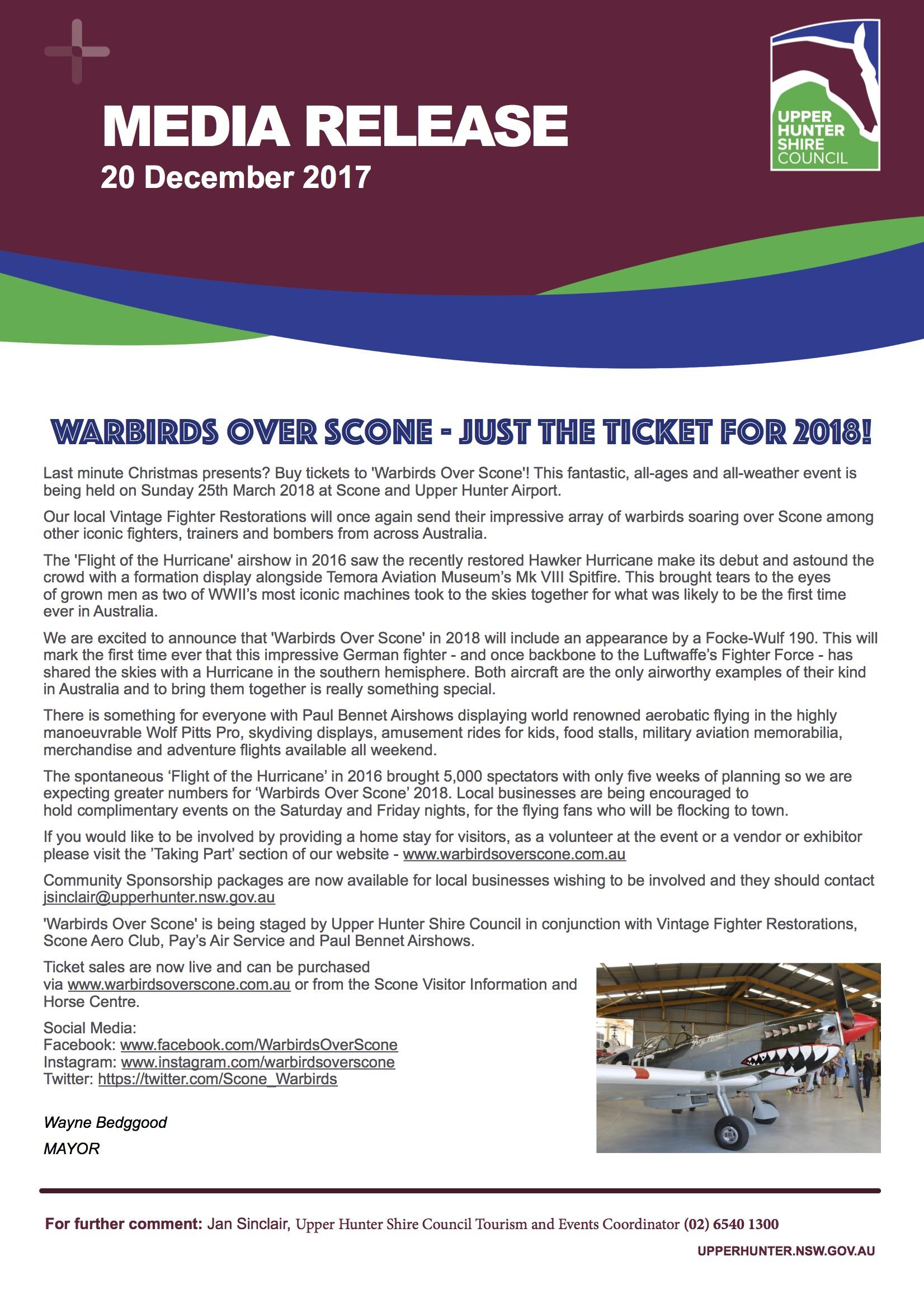 Media Release - Warbirds Over Scone just the ticket for 2018 - December 2017.jpg