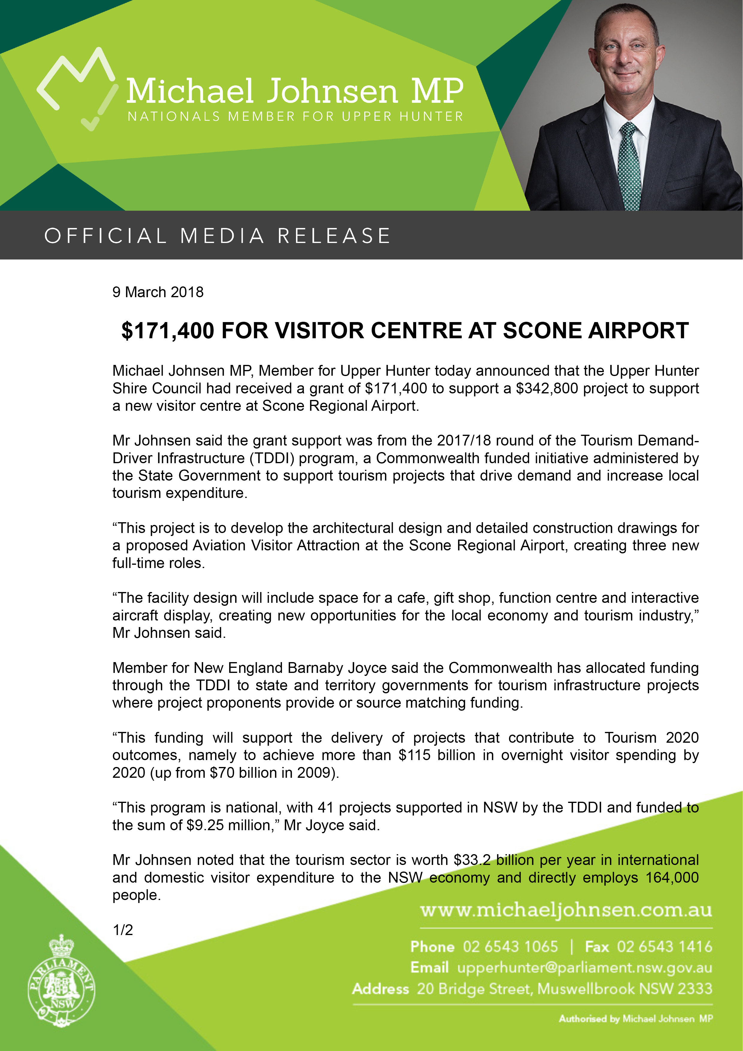 Michael Johnsen Media Release -$171,400 FOR VISITOR CENTRE AT SCONE AIRPORT.jpg