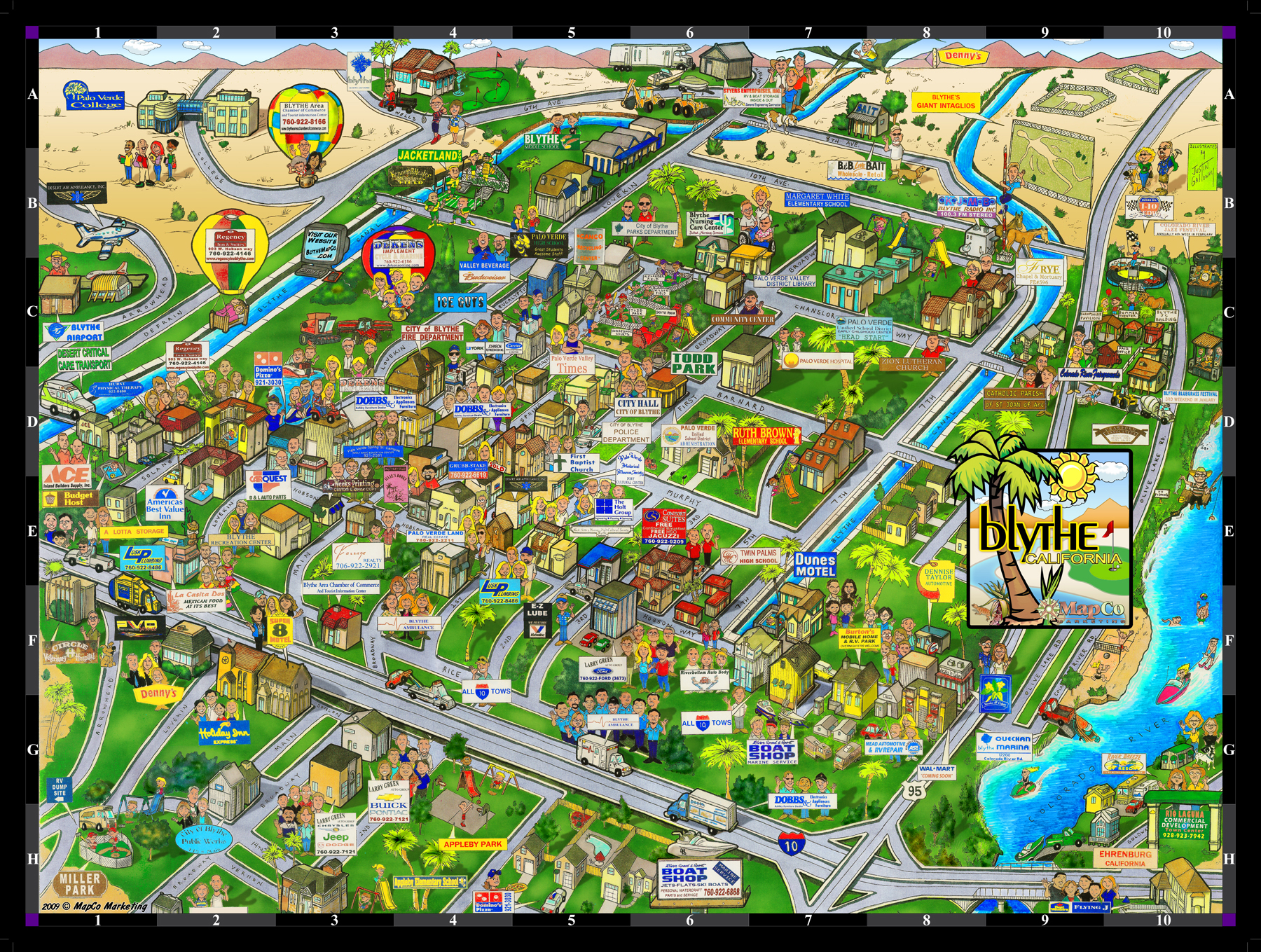 Blythe City Caricature Map