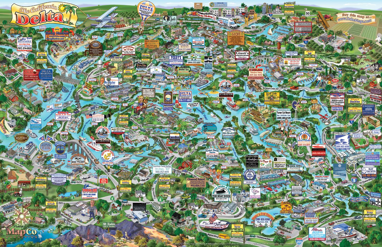 California Delta Cartoon Map