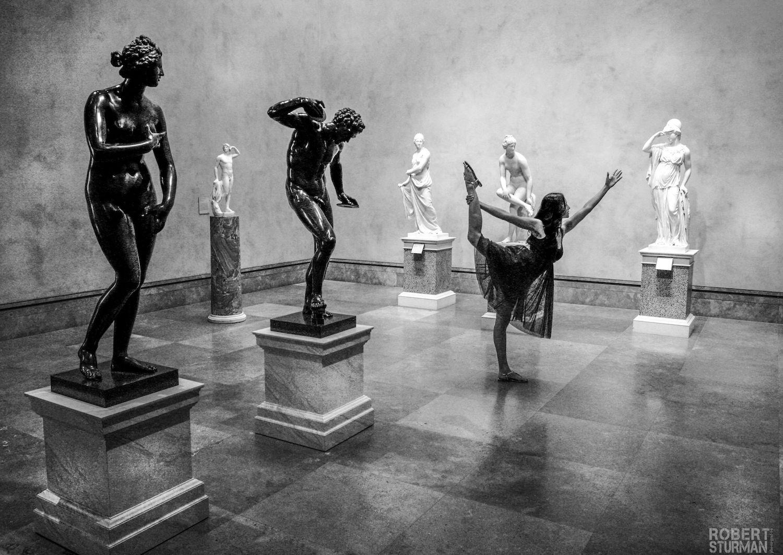 Robert Sturman photograph of a dancer in a museum