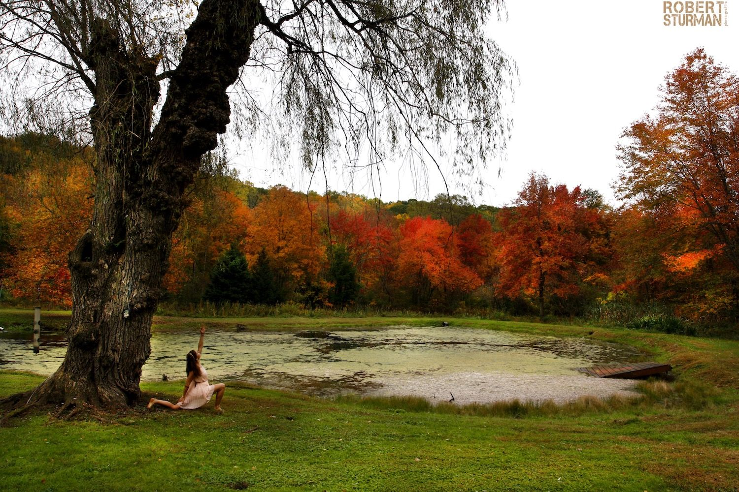 Robert Sturman photograph of a yoga pose with fall colors in the trees