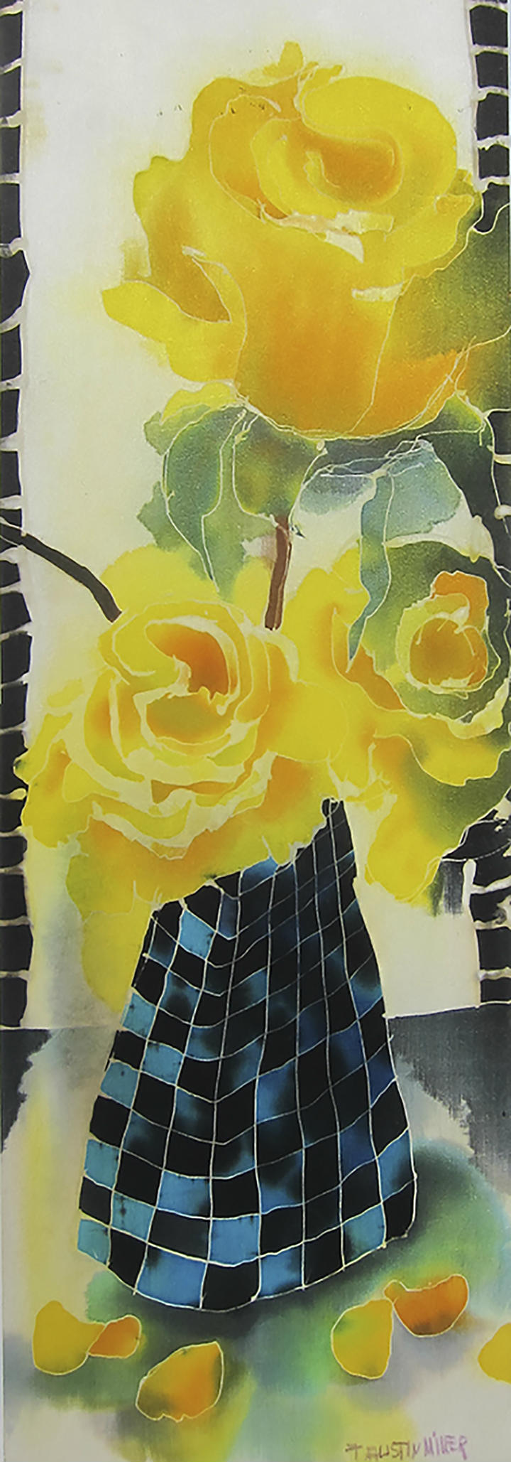 Yellow roses silk painting