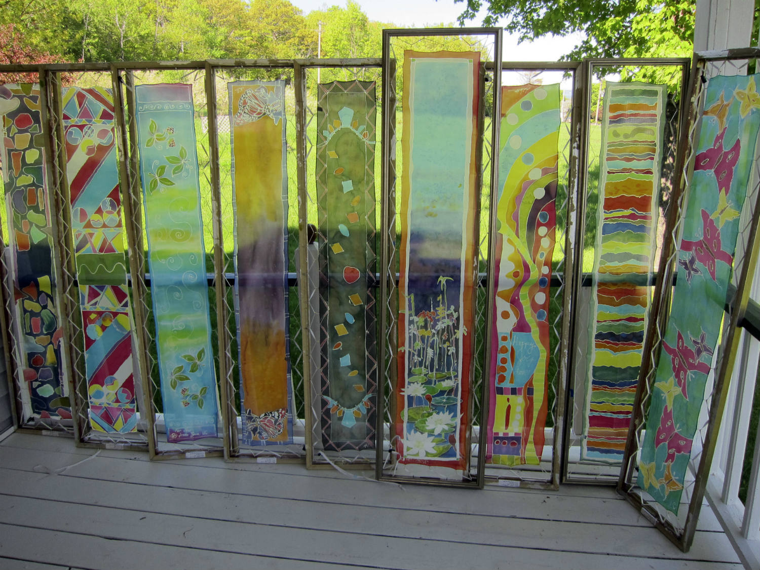 Silk painting drying outdoors