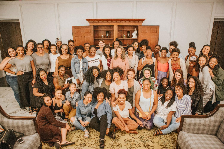 Group photo of Alex Elle's writing retreat participants