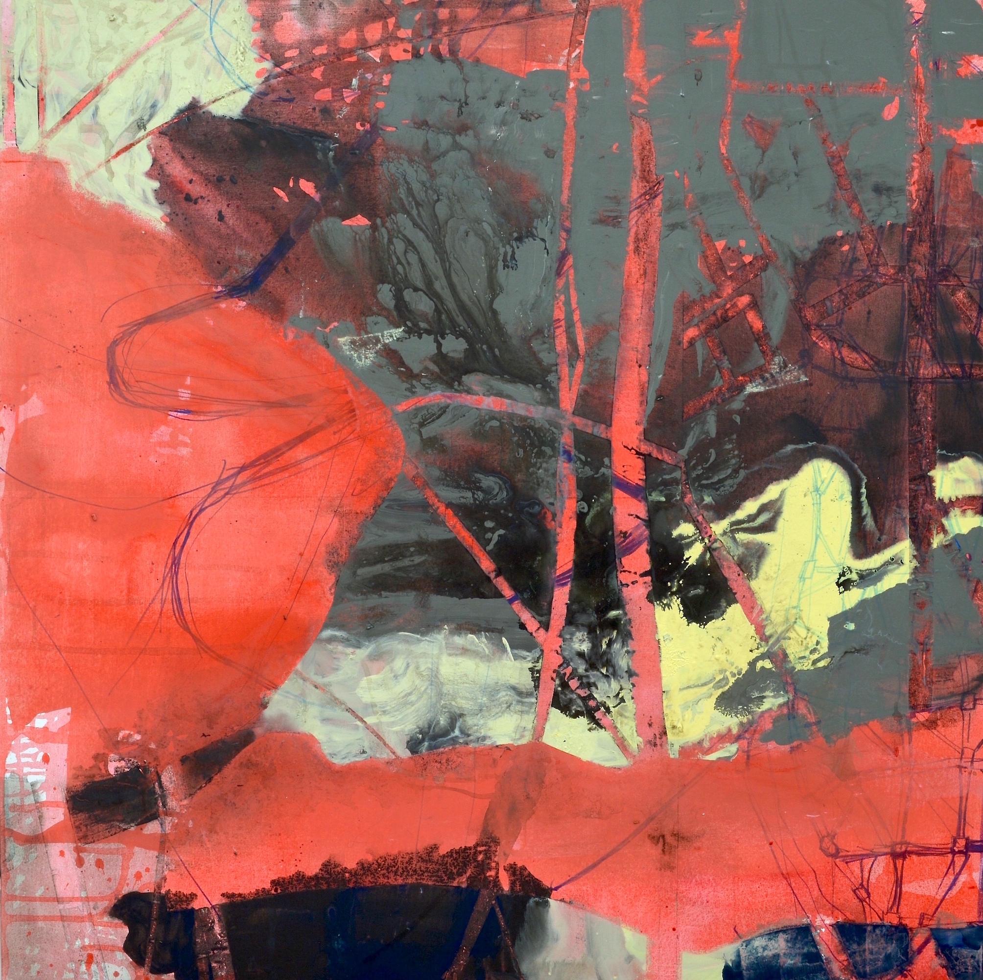 "Tree, Map, Body  Acrylic on Canvas, 49"" x 49"""