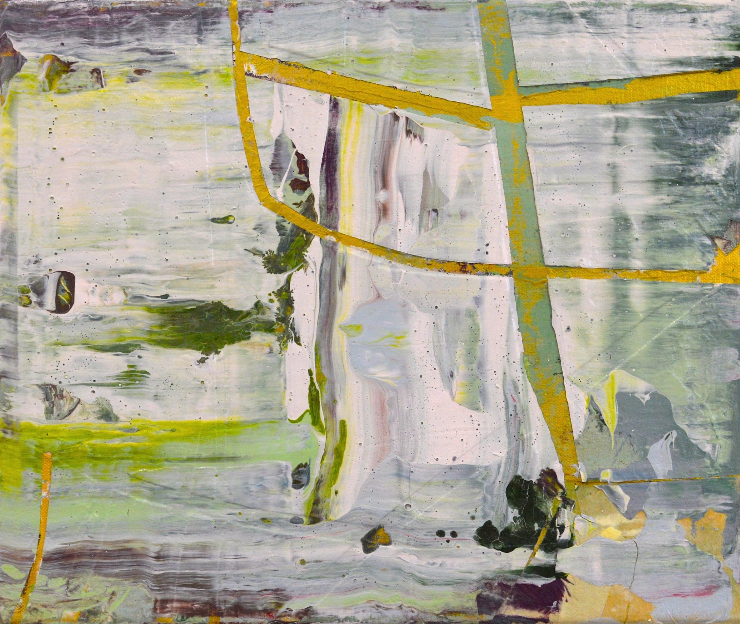 "Mapped Navigation  Acrylic on Canvas, 18"" x 18"""