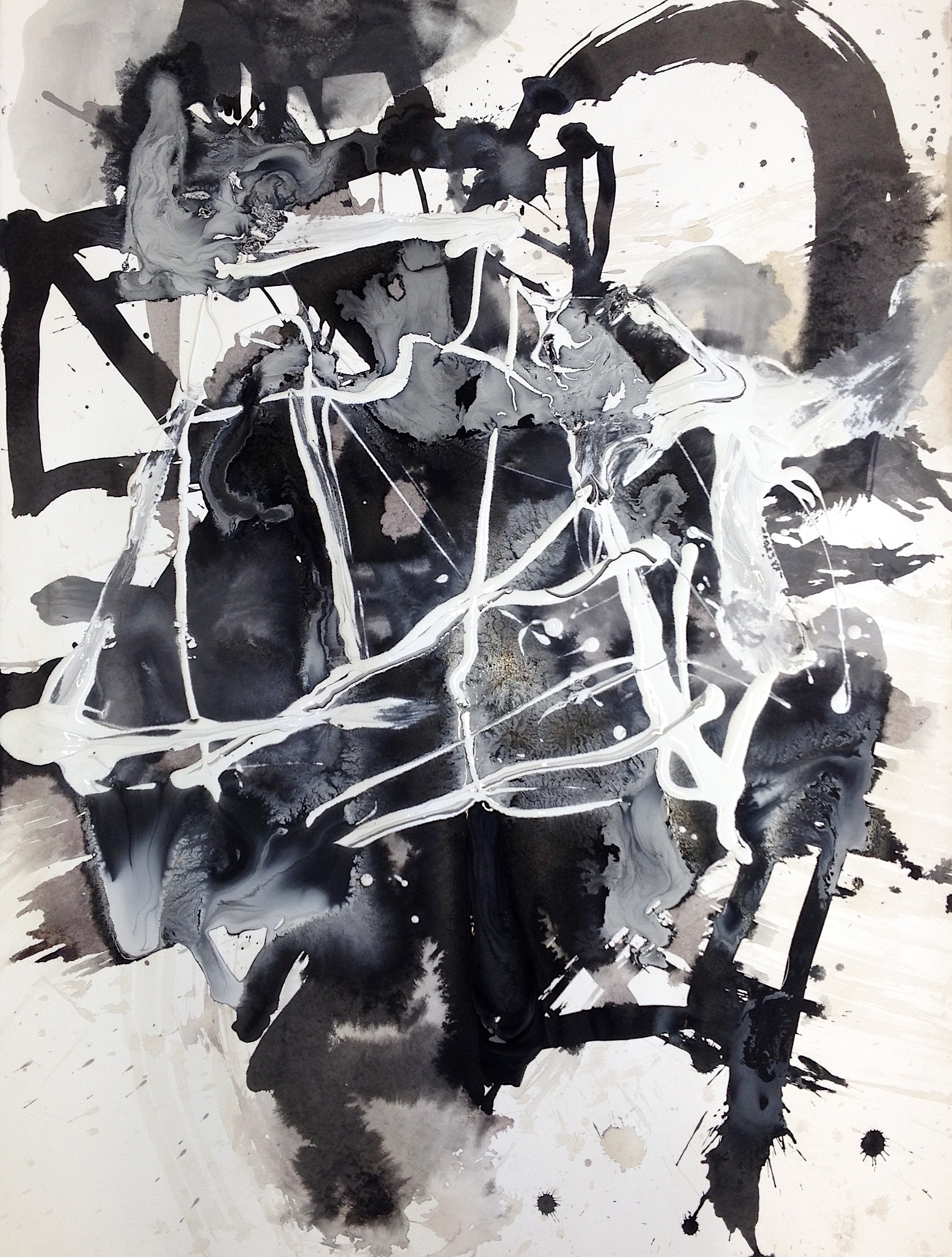 """Marking Place 3  Acrylic on Paper, 6"""" x 24"""""""