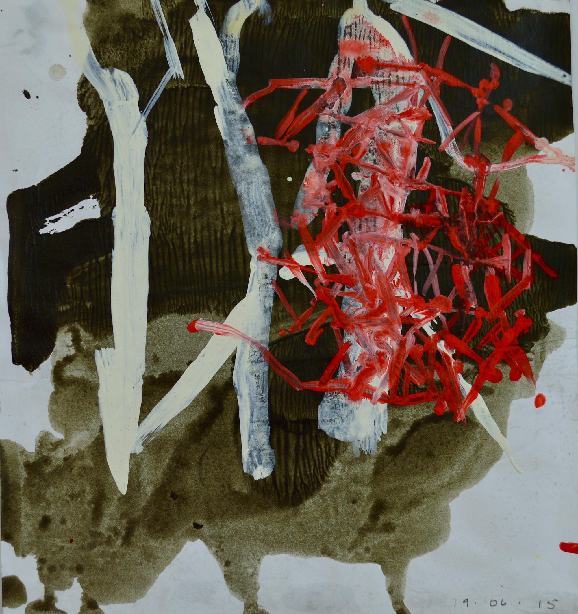 "Mapped Terrain 3  Acrylic on Paper, 12"" x 10"""