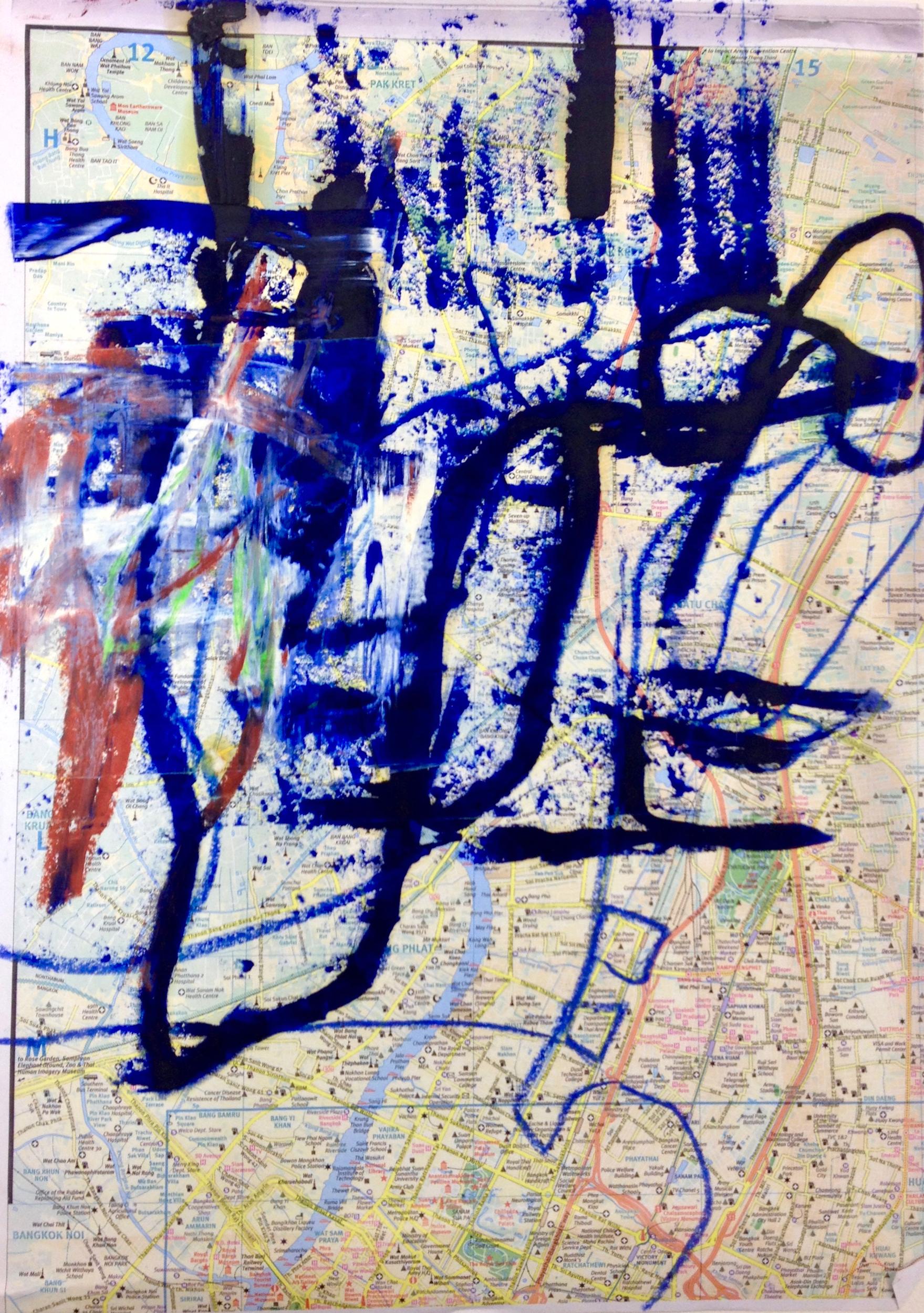 "Mapped Territory Bangkok  Oilpastel on Paper 20"" x 18"""