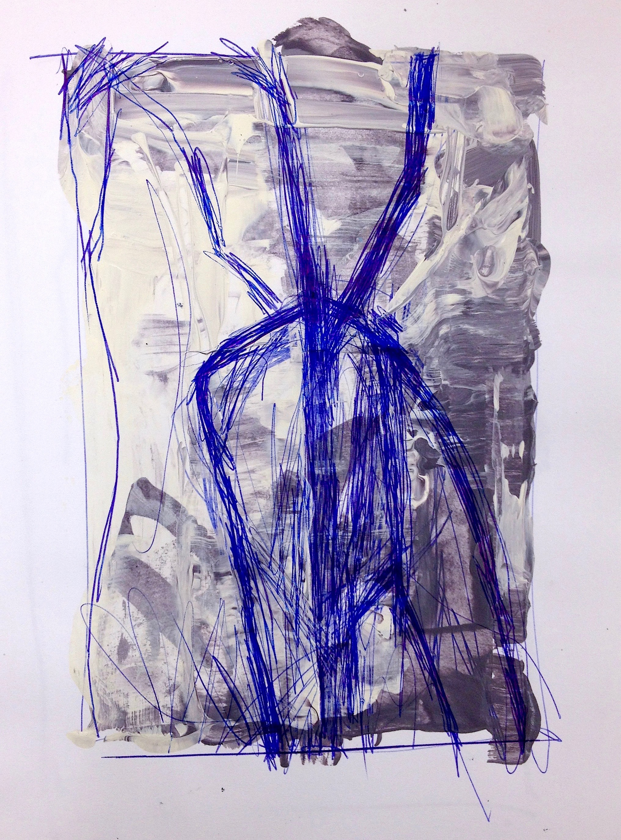 "Trees & Vines  Acrylic on Paper 7""x 5"""