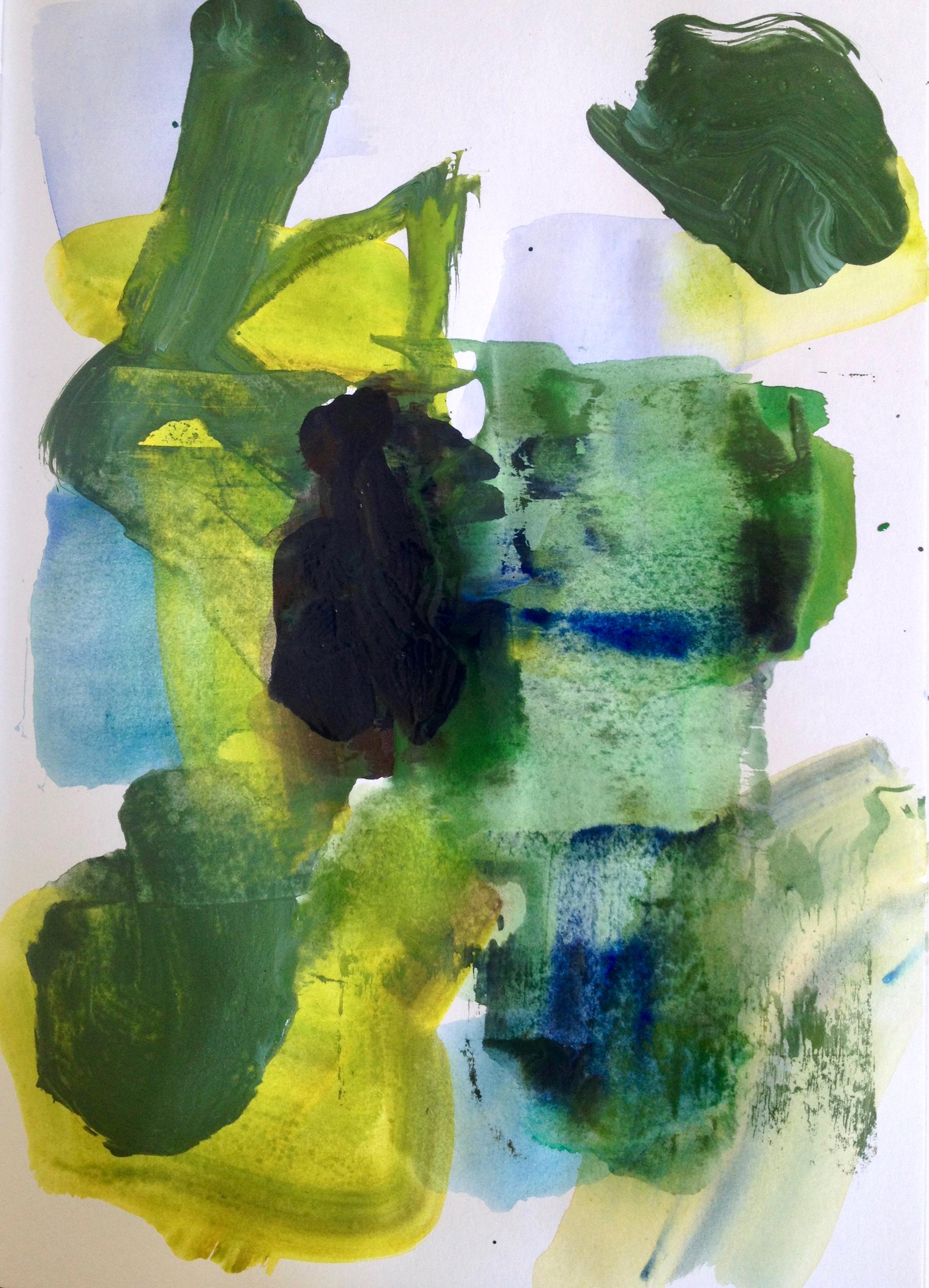 "Raven  Acrylic on Paper 20""x 16"""