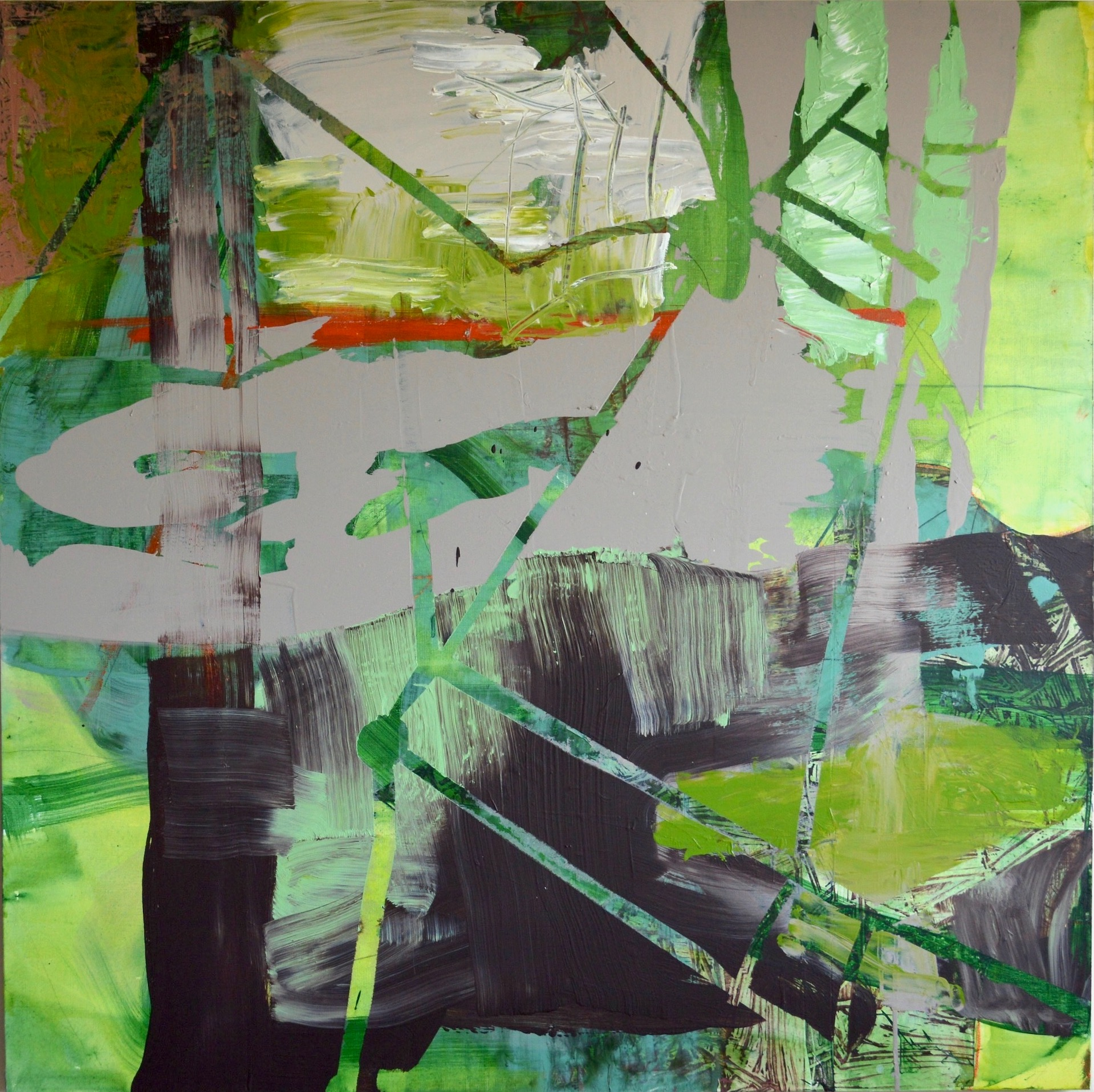 "House Of Green Earth  Acrylic on Canvas, 49"" x 49"""