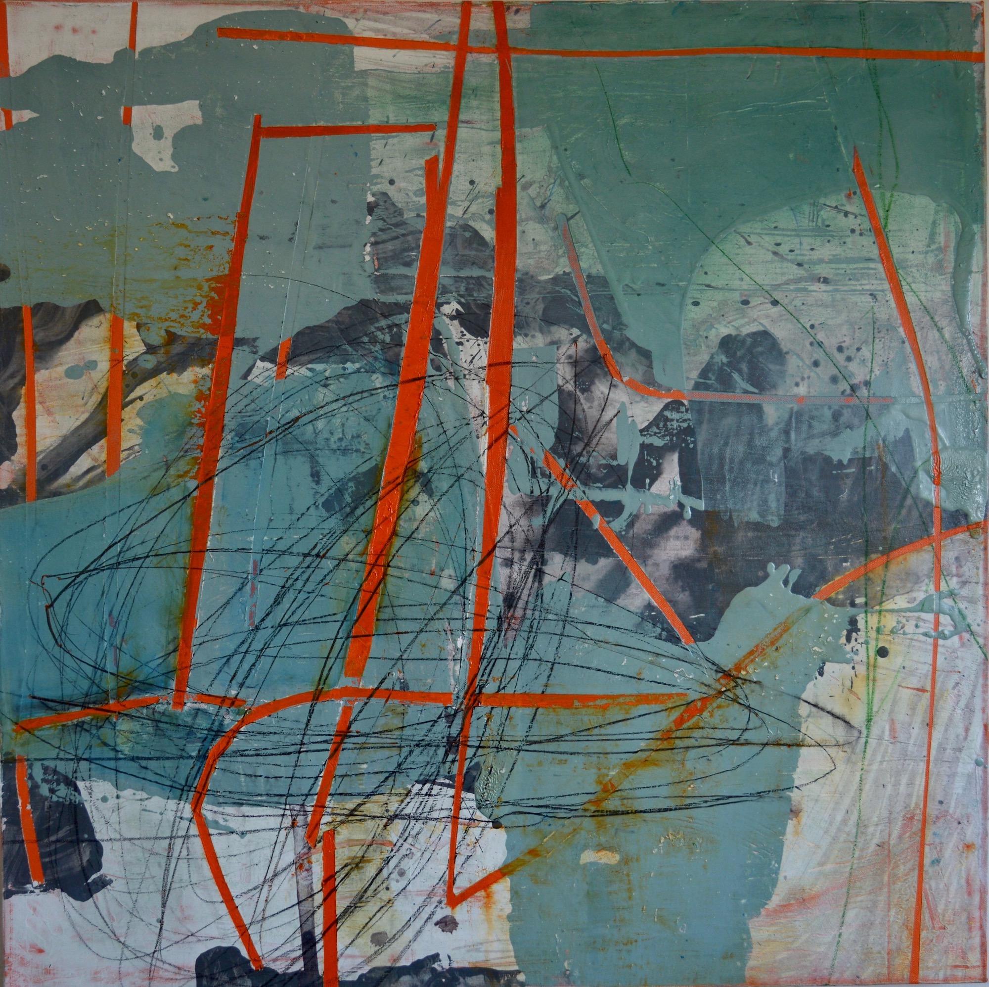 "Mappa Mundi Spiral  Acrylic & Oil on Canvas 36"" x 36"""