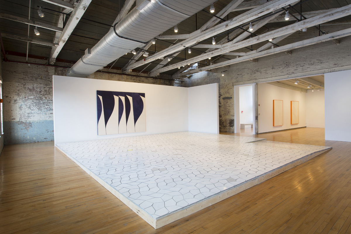 Installation view of Sarah Crowner, Beetle in the Leaves, 2016    'Rotated Stretched Stems', 2016    Acrylic on canvas and raw canvas, sewn    98 x 120 inches    Courtesy of the artist and Casey Kaplan, New York    'Platform (Pentagon Leaves)', 2016   Hand painted and raw cement tiles, wood, cement board, mortar, grout   29 x 29 feet   Courtesy of the artist and Casey Kaplan, New York    Tiles produced with Popham Design, Marrakech, Morroco   Photo: David Dashiell