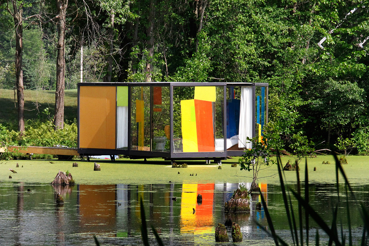 "Omi Pond House, 2016 steel & glass approximately 20' 9"" x 13' 7"""