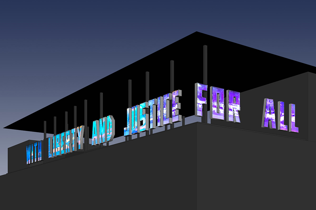 Above:Jim Hodges, With Liberty and Justice for All (A Work in Progress) , 2014–2016. Installation rendering for The Contemporary Austin – The Moody Rooftop at the Jones Center, 2016. Artwork © the artist. Image courtesy the artist.