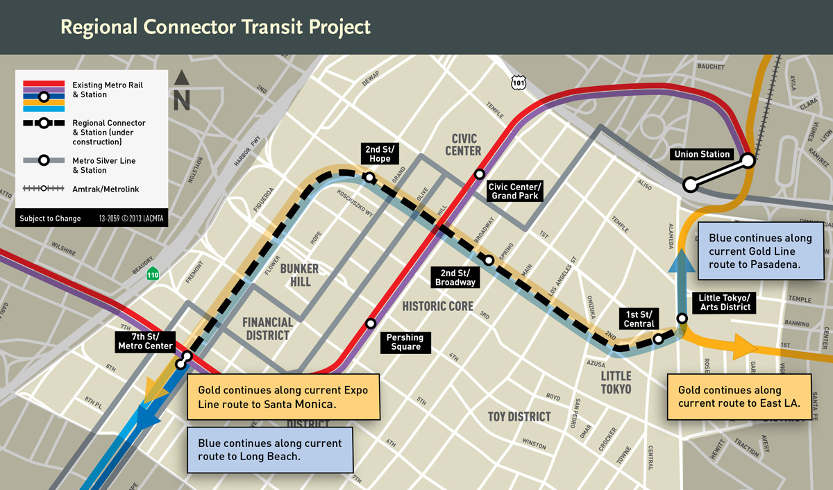 Above: Map of the Regional Connector Transit Project, illustrating Mungo Thomson's projected artwork site, the new 2nd Place/Hope Street Station.