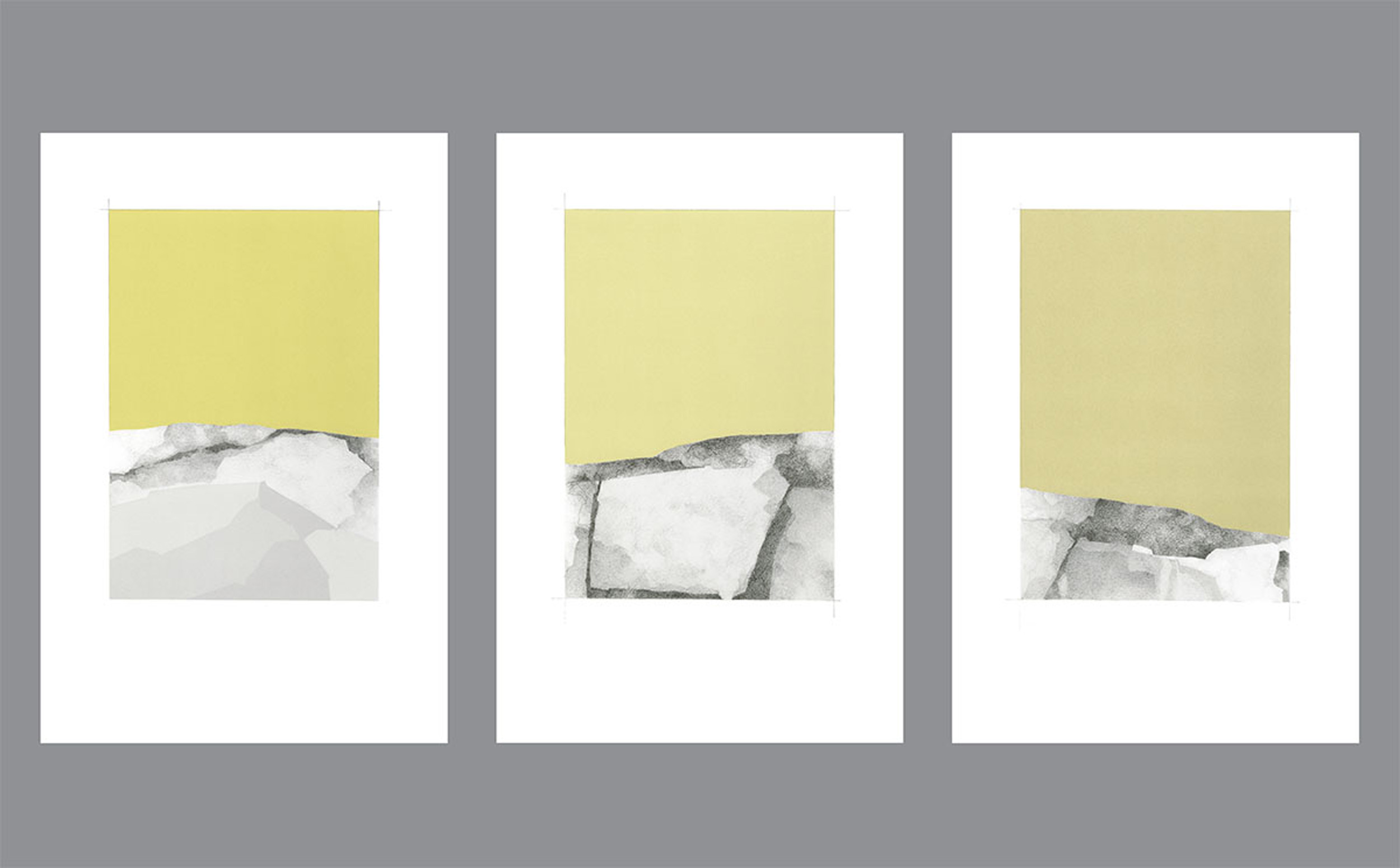 Pictured:  The Line Between: 14 Views of the Horizon  (detail), screenprint and graphite, 2015