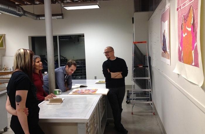 Left to right: Lindsay Splichal, Hend Al-Mansour, Mike Gordon, guest critic Bryan Ritchie