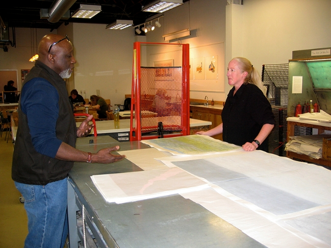Guest critic Clarence Morgan with Jerome Artist Pamela Carberry