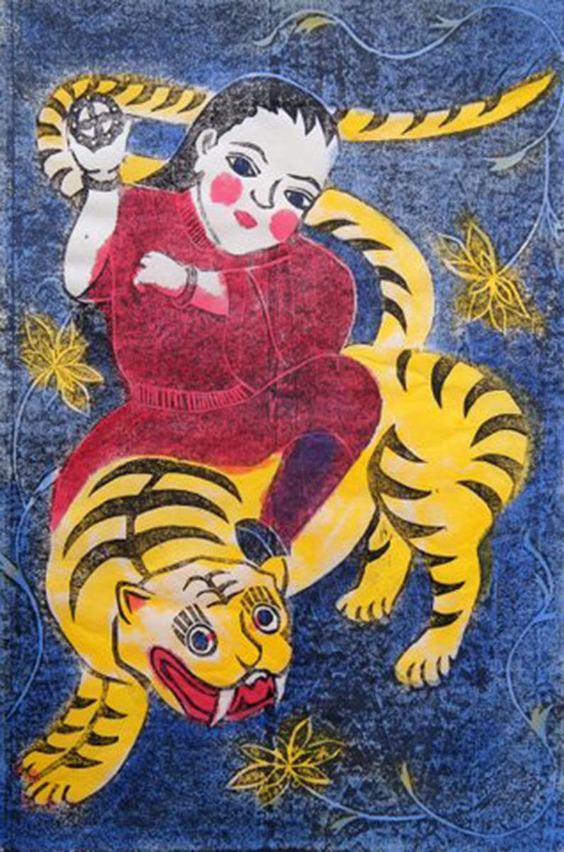 Jean Shannon,  Woman and Tiger , 2015, woodcut (Sosaku Hanga)