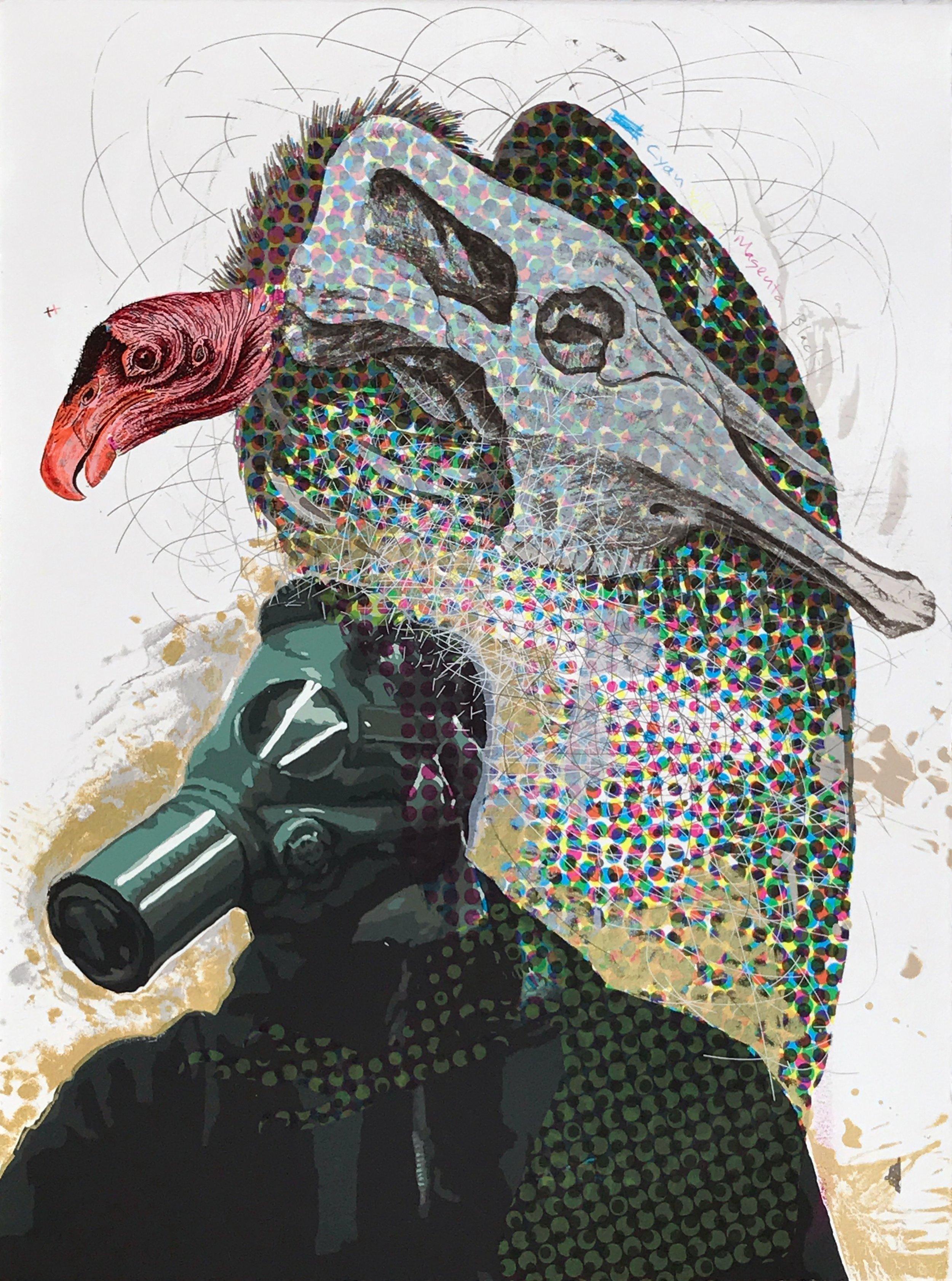 Matt Hopson-Walker,  A Man Among Vultures,  Screenprint, 2017