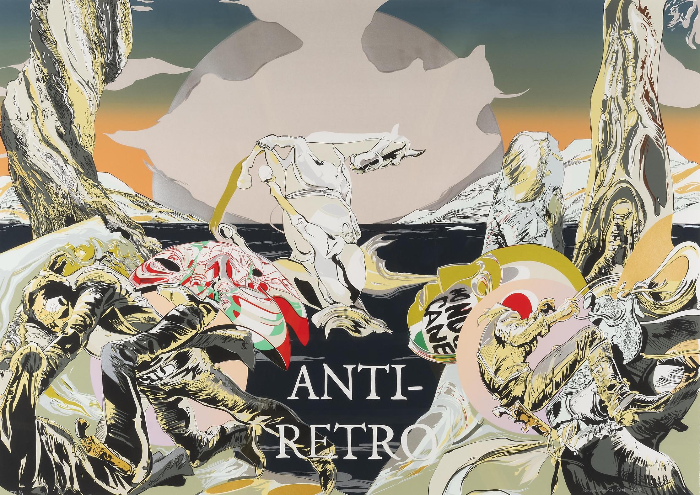 Andrea Carlson, Anti-Retro, Screenprint, Edition of 20, 33.5 x 47.75 inches, 2018