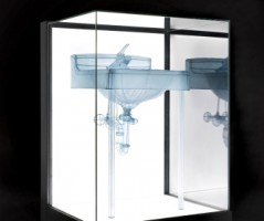 Do Ho Suh. Basin, Apartment A, 348 West 22nd Street, New York, NY 10011, USA, 2015. Polyester fabric, stainless steel wire, display case with LEDs, 46 x 31 7/8 x 28 in. © Do Ho Suh. Courtesy the artist and Lehmann Maupin, New York, Hong Kong, and Seoul. Photo: Taegsu Jeon