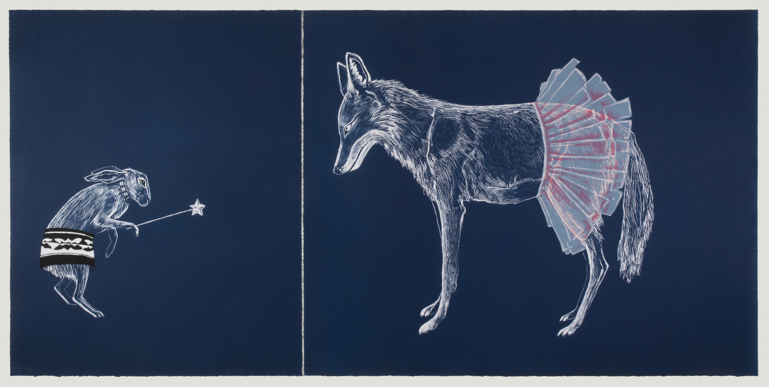 """The Trickster Showdown"" by Julie Buffalohead 2015 Edition of 8 | Lithograph & Screenprinting | 27 1/2"" x 56"""