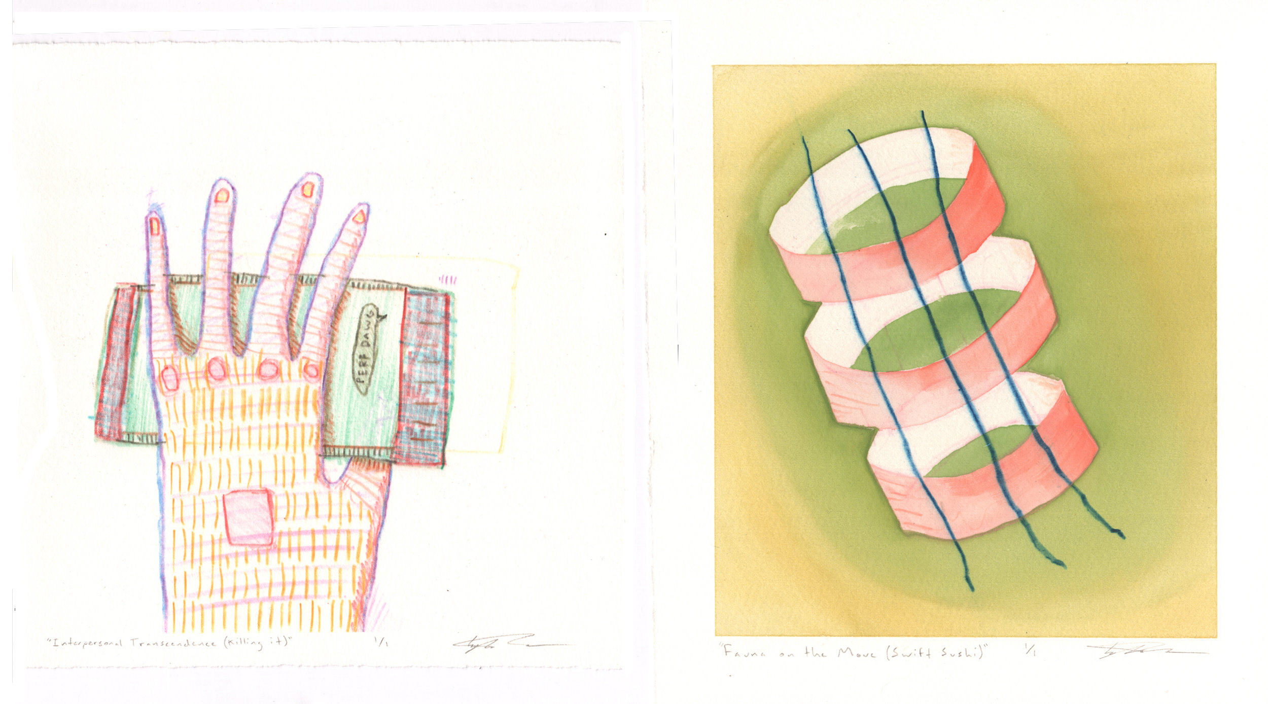 Tyler Green, Left: Interpersonal Transcendence (Killing It), Right: Fauna on the Move (Swift Sushi), monotype