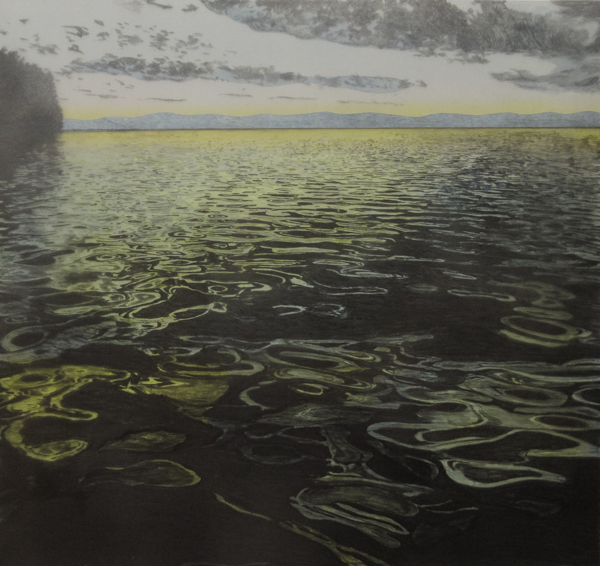 Pam Carberry, Water Watching, linocut and drawing