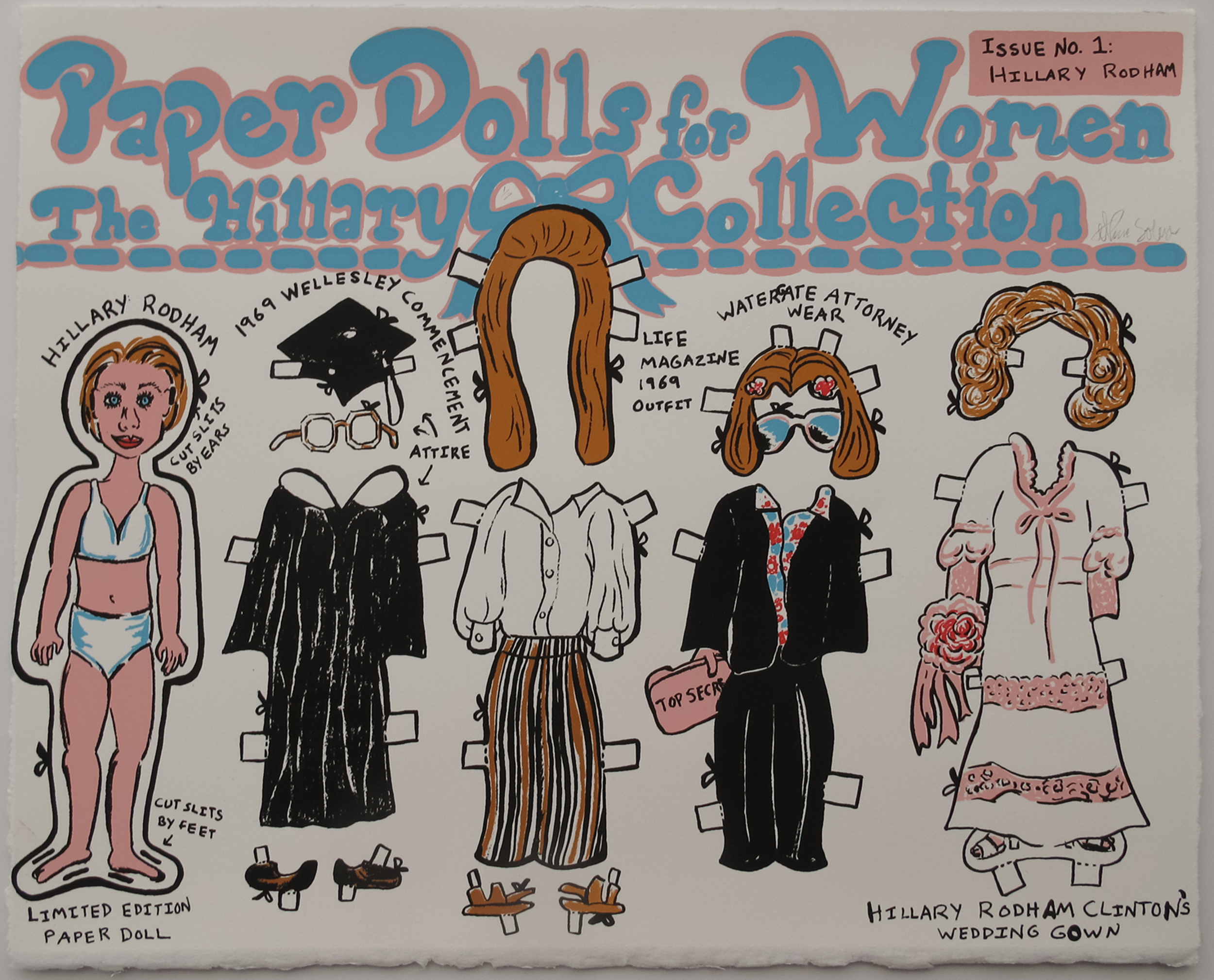 Nicole Soley, Paper Dolls for Women: The Hillary Collection, Issue No. 1, screenprint