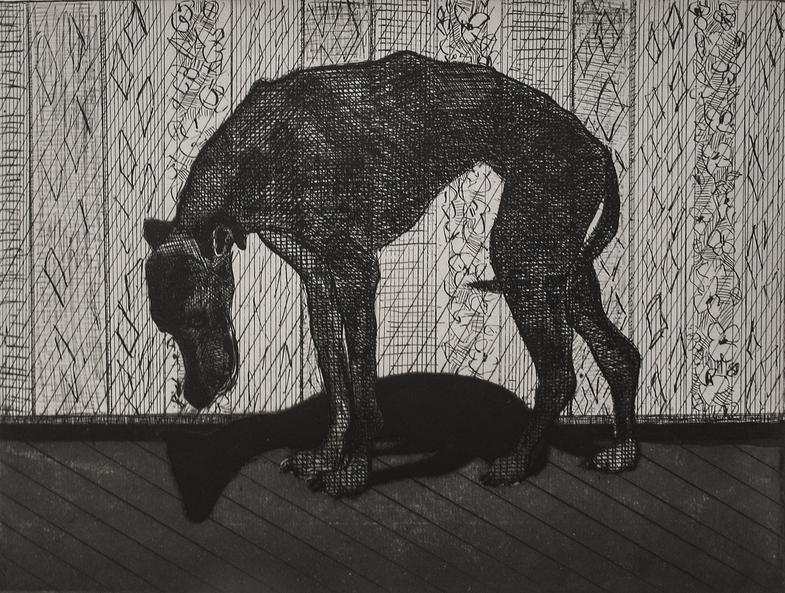Zach Cramer, The Fool's Dog (The steady drumbeat of rebellion exposes the dead hand of authority.), intaglio