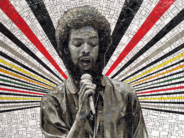 """""""Beacons"""" (2018) at 167th Street Station, commissioned by Metropolitan Transportation Authority Arts & Design; J. Gil Scott-Heron portrait derived from a photograph by Paul Natkin (all images courtesy MTA, © Rico Gatson)"""