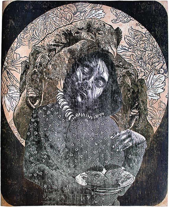 Pictured: Edith Chávez,  Crisantemo , woodcut, 2014